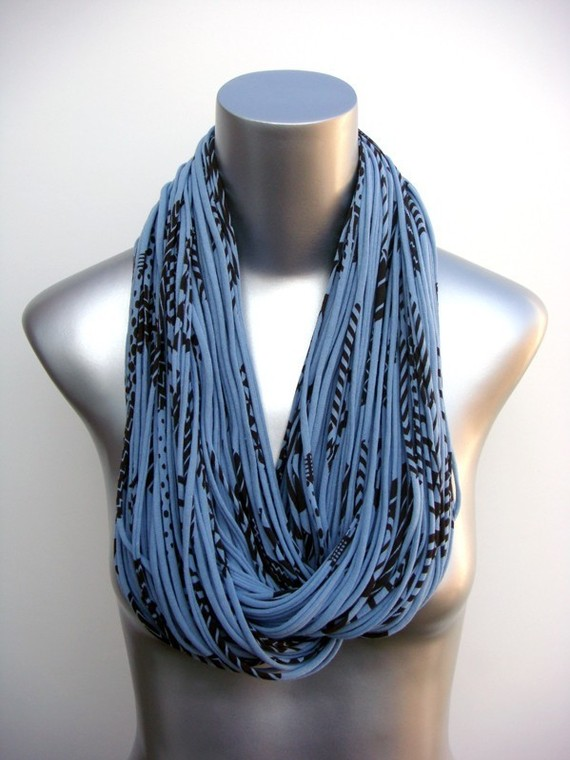 Burning Man Fashion, Scarf Eco-Friendly Clothing Saphire Blue Brown Organic Necklace Chunky Cowl Jersey Circle Scarves Womens Mens Infinity Scarfs